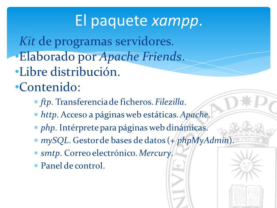 Instalación de xampp. Fuente: http://www.apachefriends.org/es Resultado de la descompresión: