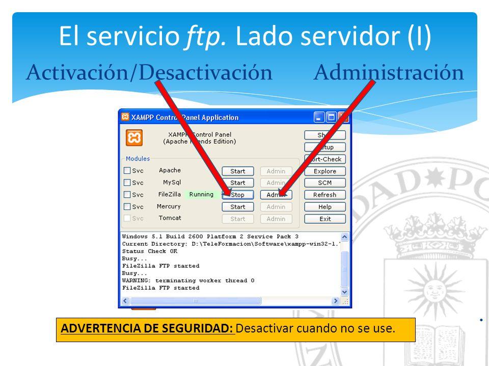 El servicio ftp. Lado servidor (I) Activación/DesactivaciónAdministración.