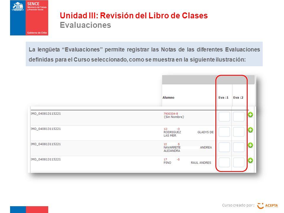Curso creado por : Unidad III: Revisión del Libro de Clases Evaluaciones La lengüeta Evaluaciones permite registrar las Notas de las diferentes Evaluaciones definidas para el Curso seleccionado, como se muestra en la siguiente ilustración: