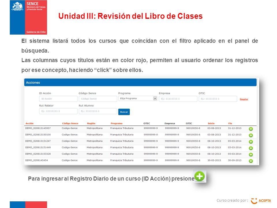 Curso creado por : Unidad III: Revisión del Libro de Clases El sistema listará todos los cursos que coincidan con el filtro aplicado en el panel de búsqueda.
