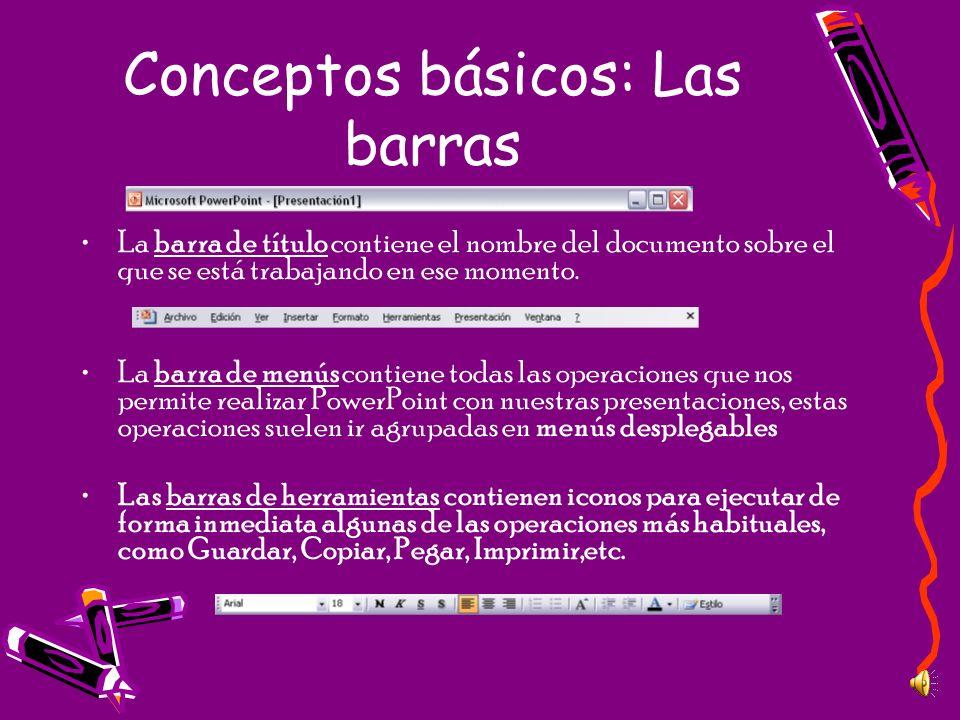 Conceptos básicos: Las barras La barra de título contiene el nombre del documento sobre el que se está trabajando en ese momento. La barra de menús co