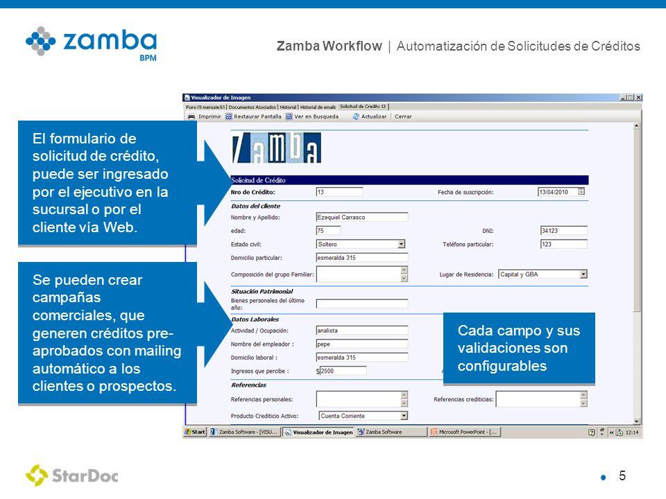Zamba Workflow | Automatización de Solicitudes de Créditos 6 Zamba al ingresar la solicitud de crédito, envía un mail al ejecutivo y al cliente, confirmando el ingreso de la solicitud con el detalle de la misma.