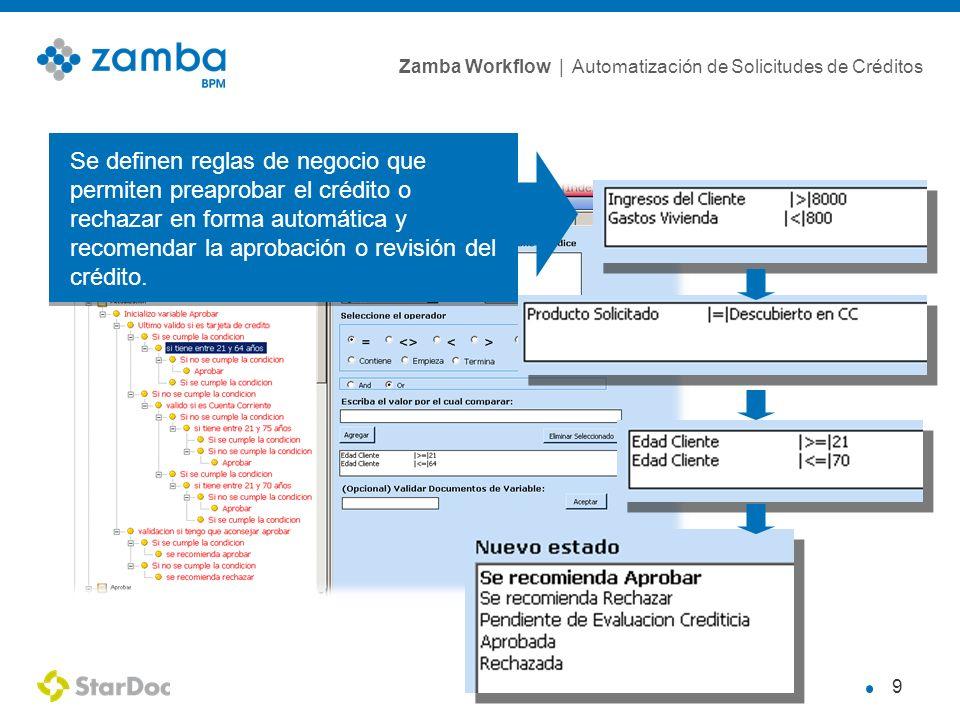 Zamba Workflow | Automatización de Solicitudes de Créditos 9 Se definen reglas de negocio que permiten preaprobar el crédito o rechazar en forma automática y recomendar la aprobación o revisión del crédito.