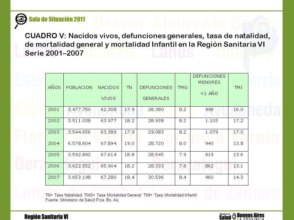 CUADRO V: Nacidos vivos, defunciones generales, tasa de natalidad, de mortalidad general y mortalidad Infantil en la Región Sanitaria VI Serie 2001–20
