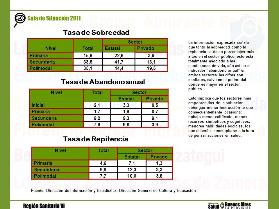 NivelTotal Sector EstatalPrivado Primaria15,922,93,6 Secundaria33,541,713,1 Polimodal35,144,419,5 Tasa de Sobreedad NivelTotalSector EstatalPrivado Pr