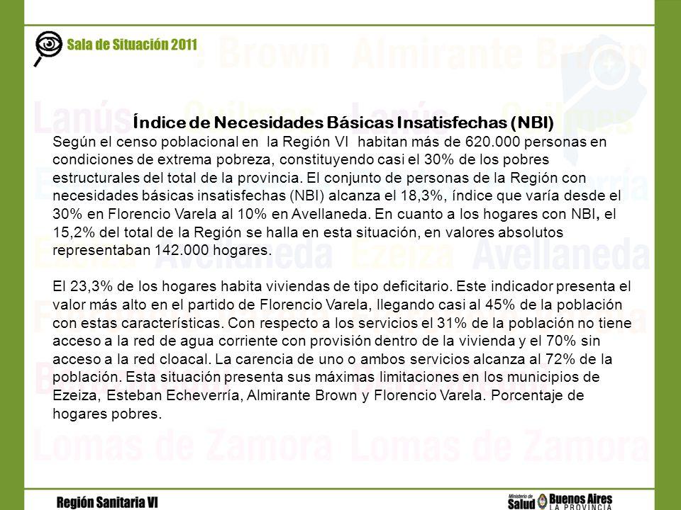 Índice de Necesidades Básicas Insatisfechas (NBI) Según el censo poblacional en la Región VI habitan más de 620.000 personas en condiciones de extrema