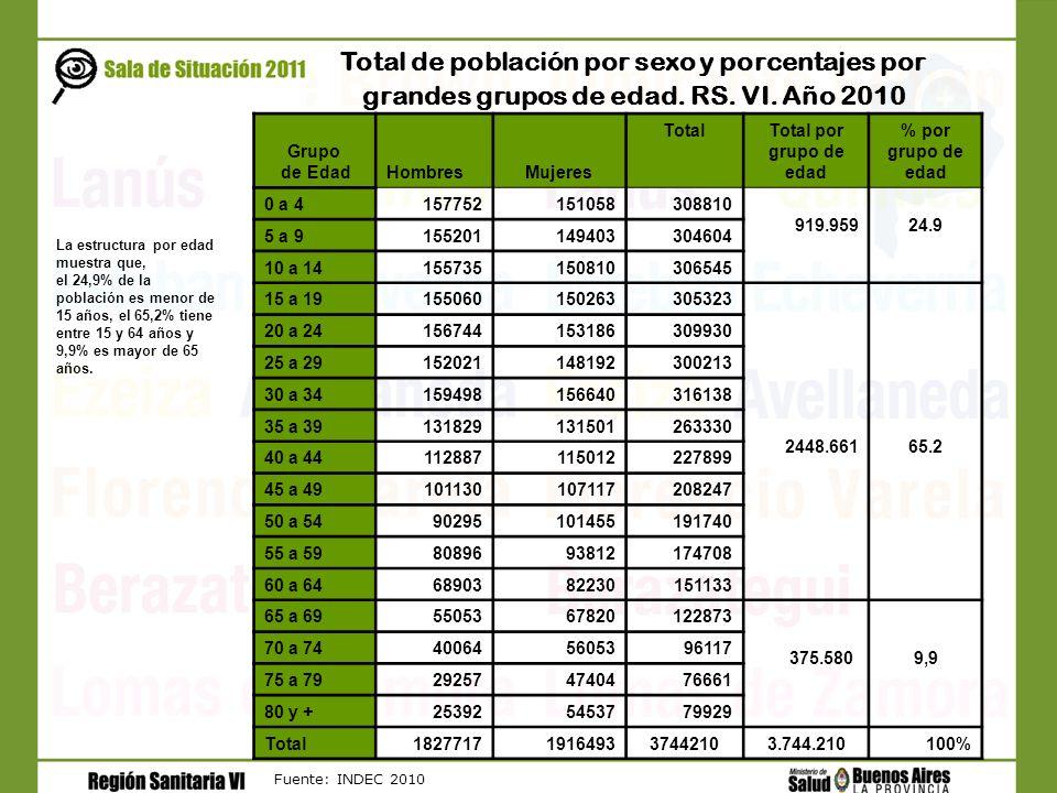 Fuente: INDEC 2010 Total de población por sexo y porcentajes por grandes grupos de edad. RS. VI. Año 2010 Grupo de EdadHombresMujeres TotalTotal por g