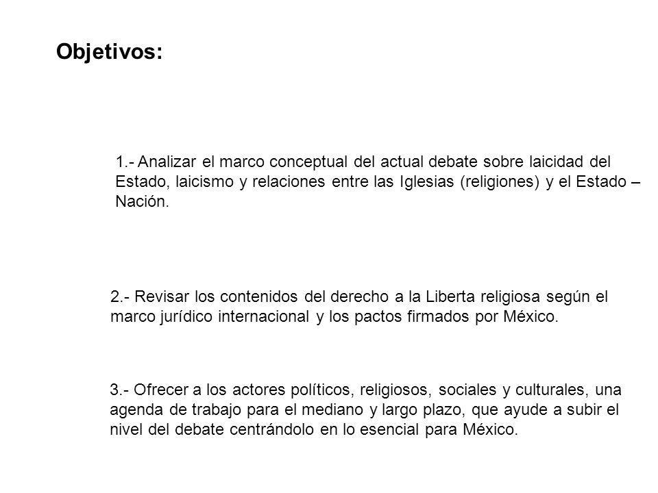 Objetivos: 1.- Analizar el marco conceptual del actual debate sobre laicidad del Estado, laicismo y relaciones entre las Iglesias (religiones) y el Estado – Nación.