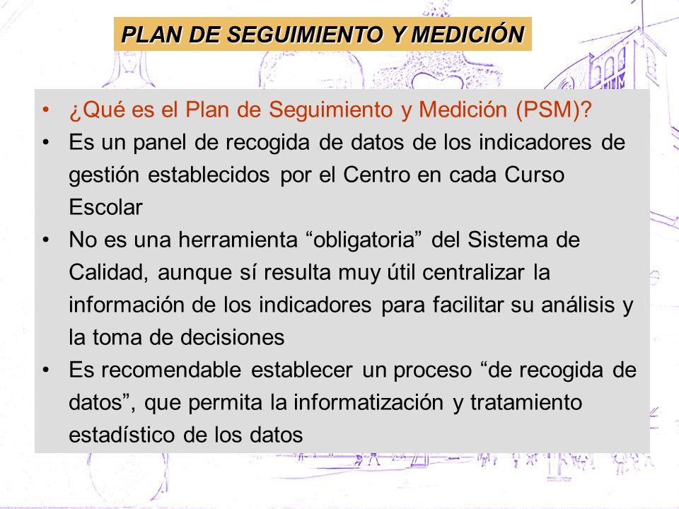 ¿Qué es el Plan de Seguimiento y Medición (PSM)? Es un panel de recogida de datos de los indicadores de gestión establecidos por el Centro en cada Cur