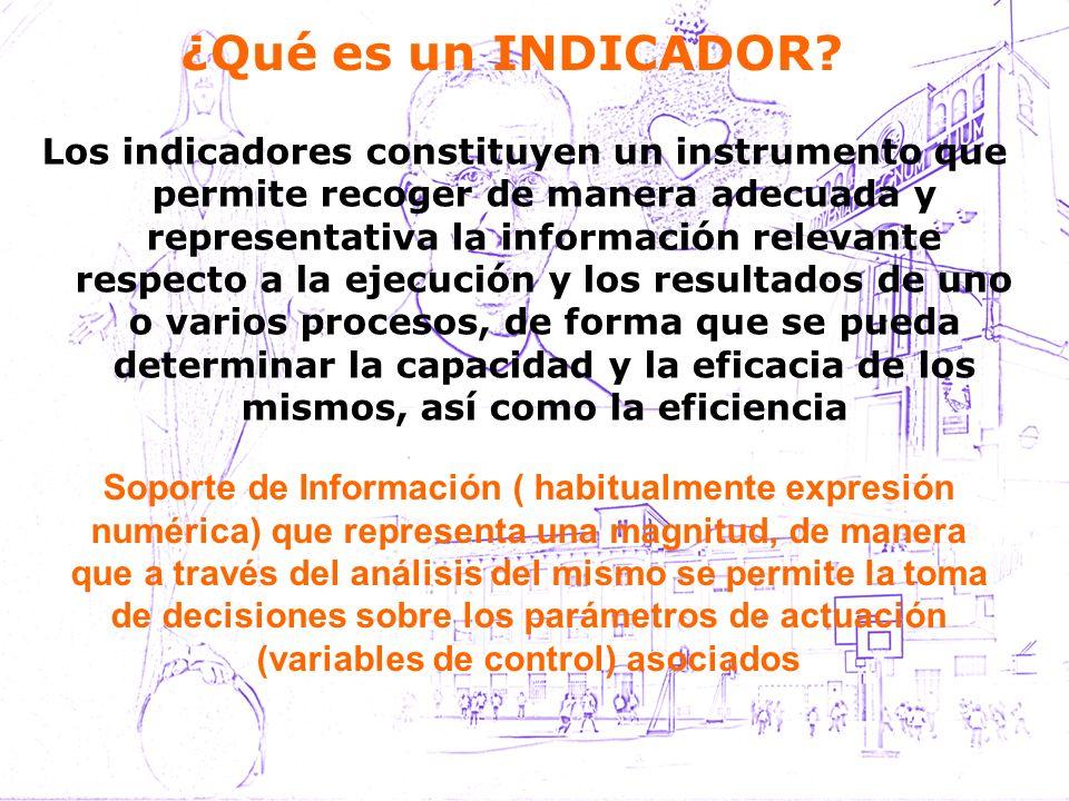 ¿Qué es un INDICADOR? Los indicadores constituyen un instrumento que permite recoger de manera adecuada y representativa la información relevante resp