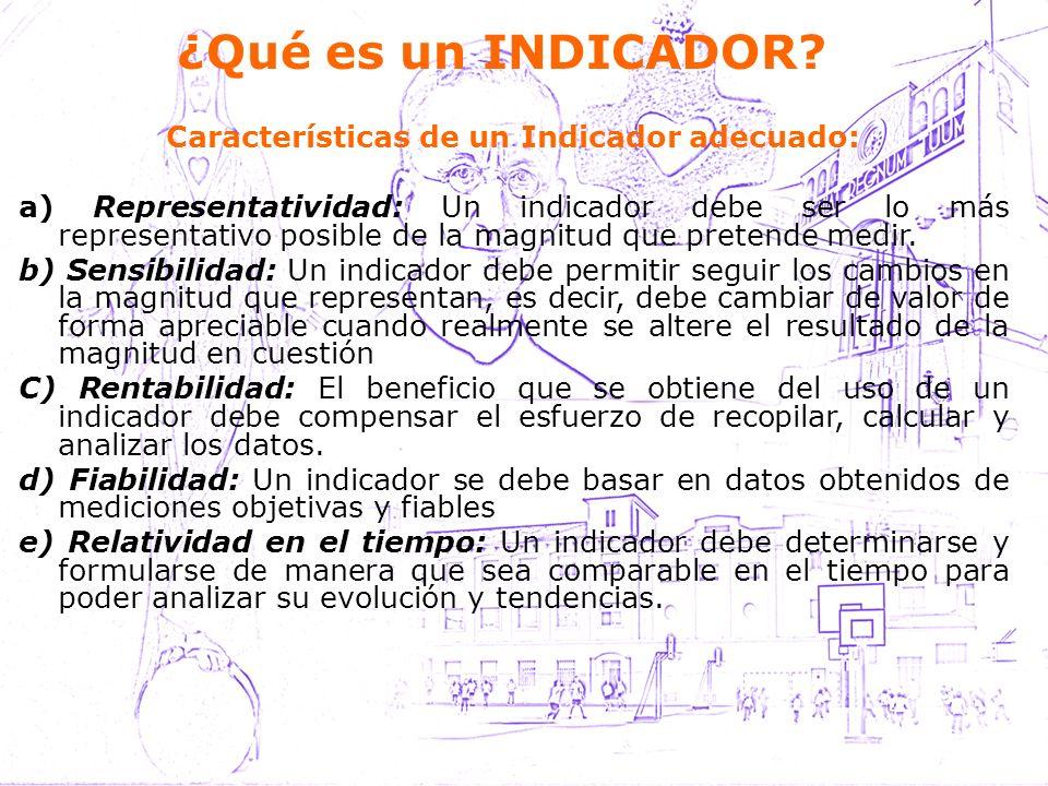 Características de un Indicador adecuado: a) Representatividad: Un indicador debe ser lo más representativo posible de la magnitud que pretende medir.