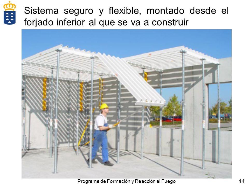 14Programa de Formación y Reacción al Fuego Sistema seguro y flexible, montado desde el forjado inferior al que se va a construir