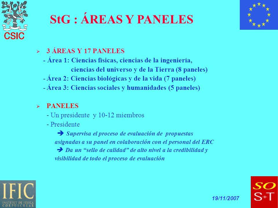 19/11/2007 3 ÁREAS Y 17 PANELES - Área 1: Ciencias físicas, ciencias de la ingeniería, ciencias del universo y de la Tierra (8 paneles) -Área 2: Ciencias biológicas y de la vida (7 paneles) -Área 3: Ciencias sociales y humanidades (5 paneles) PANELES - Un presidente y 10-12 miembros - Presidente Supervisa el proceso de evaluación de propuestas asignadas a su panel en colaboración con el personal del ERC Da un sello de calidad de alto nivel a la credibilidad y visibilidad de todo el proceso de evaluación StG : ÁREAS Y PANELES