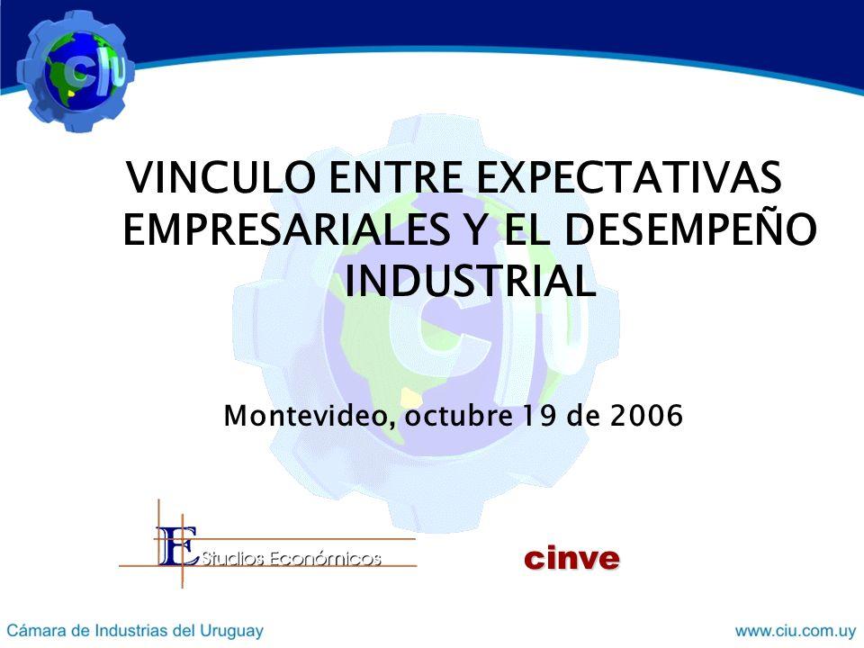 VINCULO ENTRE EXPECTATIVAS EMPRESARIALES Y EL DESEMPEÑO INDUSTRIAL Montevideo, octubre 19 de 2006 cinve