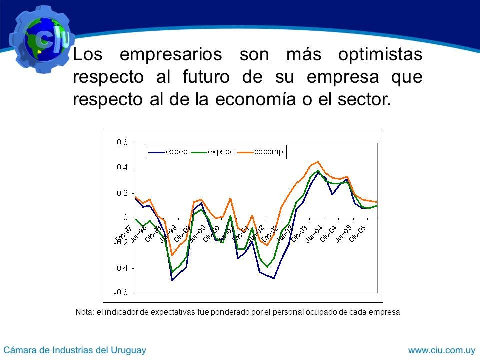 Nota: el indicador de expectativas fue ponderado por el personal ocupado de cada empresa Los empresarios son más optimistas respecto al futuro de su empresa que respecto al de la economía o el sector.