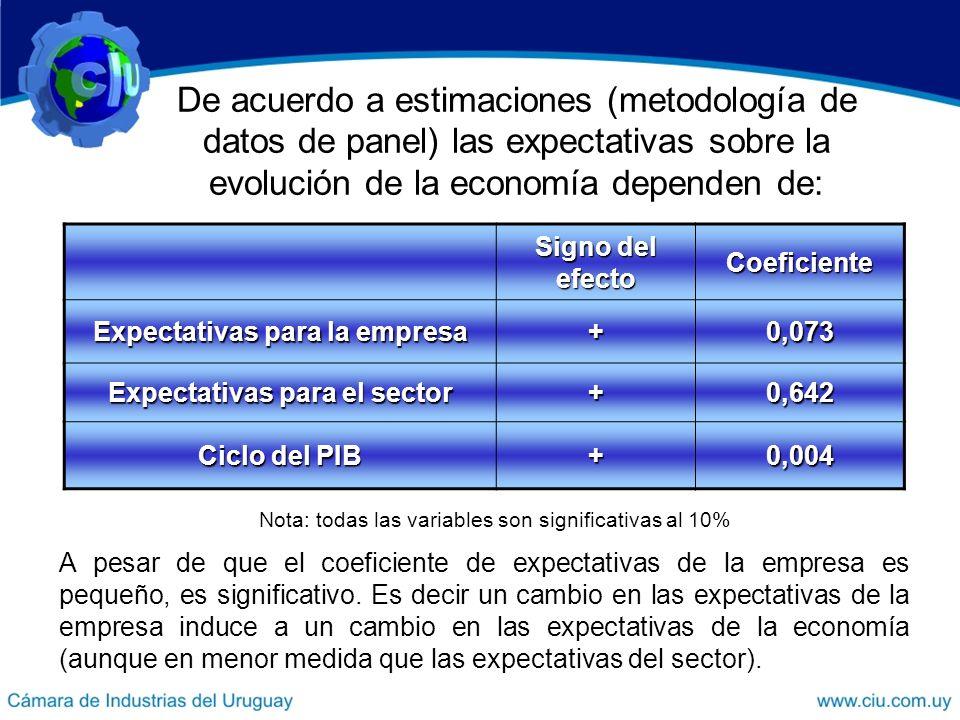 De acuerdo a estimaciones (metodología de datos de panel) las expectativas sobre la evolución de la economía dependen de: Signo del efecto Coeficiente Expectativas para la empresa +0,073 Expectativas para el sector +0,642 Ciclo del PIB +0,004 A pesar de que el coeficiente de expectativas de la empresa es pequeño, es significativo.