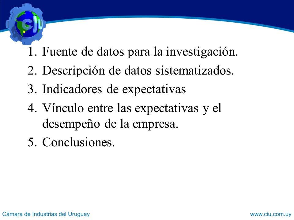 1.Fuente de datos para la investigación.2.Descripción de datos sistematizados.