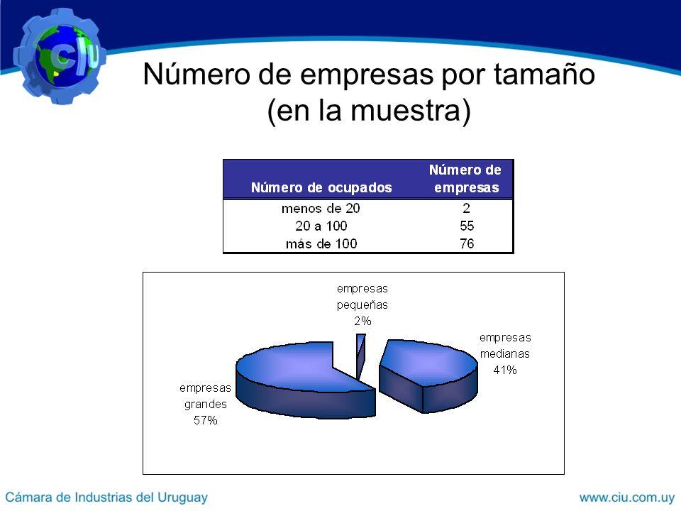 Número de empresas por tamaño (en la muestra)