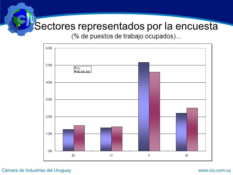 Sectores representados por la encuesta (% de puestos de trabajo ocupados)...