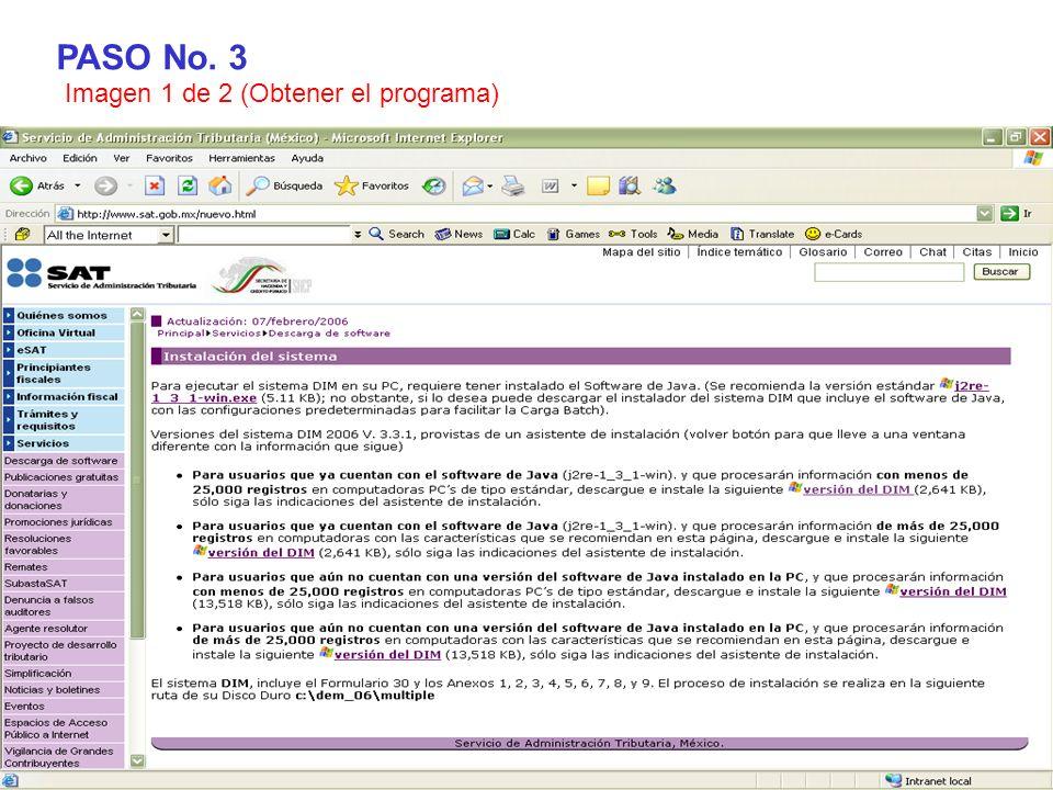 PASO No. 3 Imagen 1 de 2 (Obtener el programa)