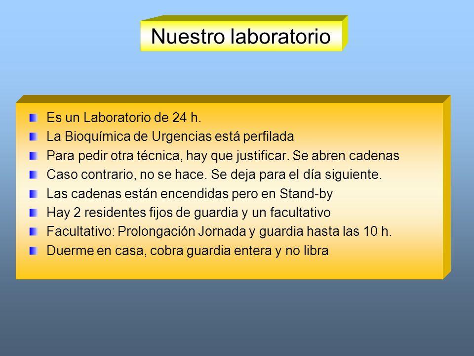 Nuestro laboratorio Es un Laboratorio de 24 h. La Bioquímica de Urgencias está perfilada Para pedir otra técnica, hay que justificar. Se abren cadenas
