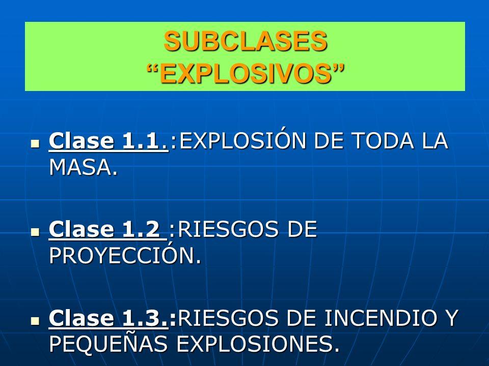 CLASE 1 EXPLOSIVOS CLASE 1.1.:EXPLOSIÓN DE TODA LA MASA. CLASE 1.1.:EXPLOSIÓN DE TODA LA MASA. CLASE 1.2 :RIESGOS DE PROYECCIÓN. CLASE 1.2 :RIESGOS DE