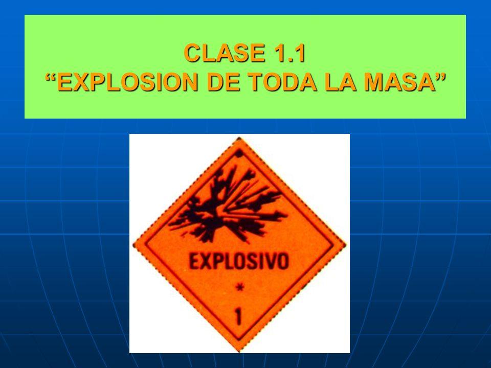 SUBCLASES EXPLOSIVOS Clase 1.1.:EXPLOSIÓN DE TODA LA MASA. Clase 1.1.:EXPLOSIÓN DE TODA LA MASA. Clase 1.2 :RIESGOS DE PROYECCIÓN. Clase 1.2 :RIESGOS