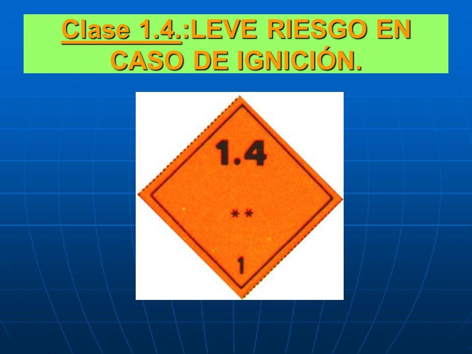 SUBCLASES EXPLOSIVOS CLASE 1.4.:LEVE RIESGO EN CASO DE IGNICIÓN. CLASE1.5.:BAJO RIESGO DE EXPLOSIÓN. CLASE 1.6.: MATERIALES EXTREMADAMENTE INSENSIBLES