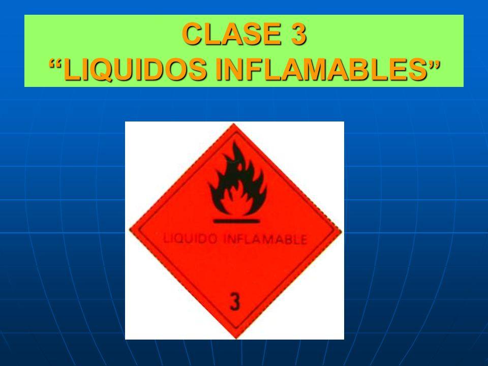 LIQUIDOS INFLAMABLES No existen diferenciaciones en cuanto a pictogramas, la clase 3 posee una subclasificación determinada en función de la inflamabi