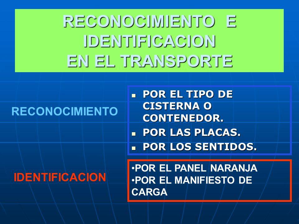 RECONOCIMIENTO E IDENTIFICACION EN EL TRANSPORTE POR EL TIPO DE CISTERNA O CONTENEDOR.