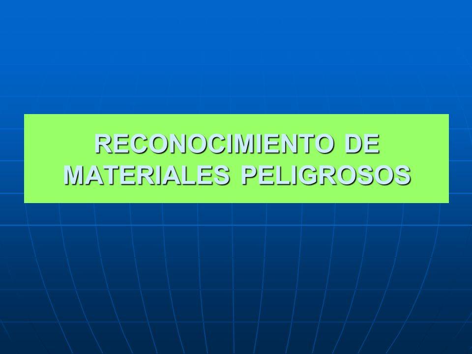 RECONOCIMIENTO DE MATERIALES PELIGROSOS