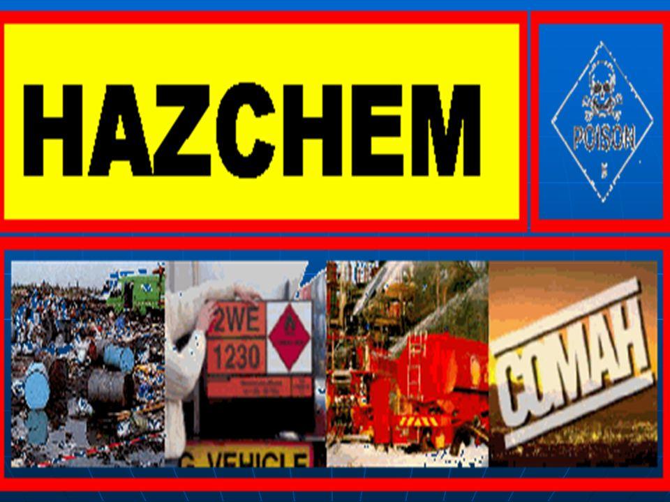 SISTEMA IDENTIFICATORIO HAZCHEM Transporte de MAT. PEL. POR CARRETERA, en el Reino Unido. NO ES OBLIGATORIO EN TODOS LOS PAISES.