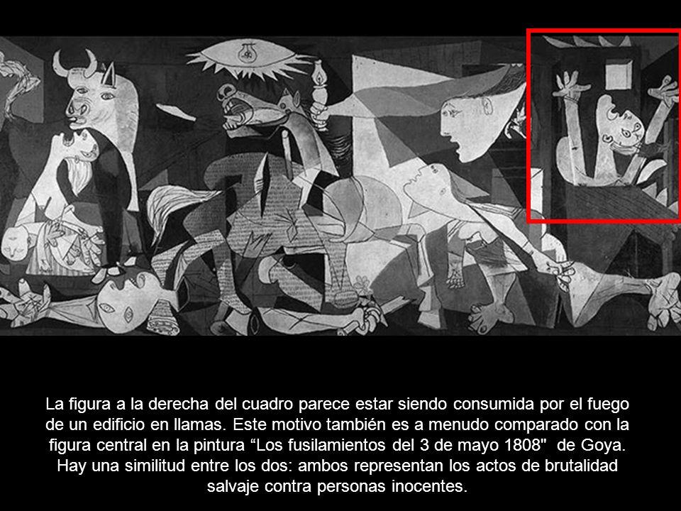 En el lado derecho del cuadro, dos mujeres miran horrorizadas al caballo herido, lo que sugiere algunas similitudes con las imágenes de Cristo en la c