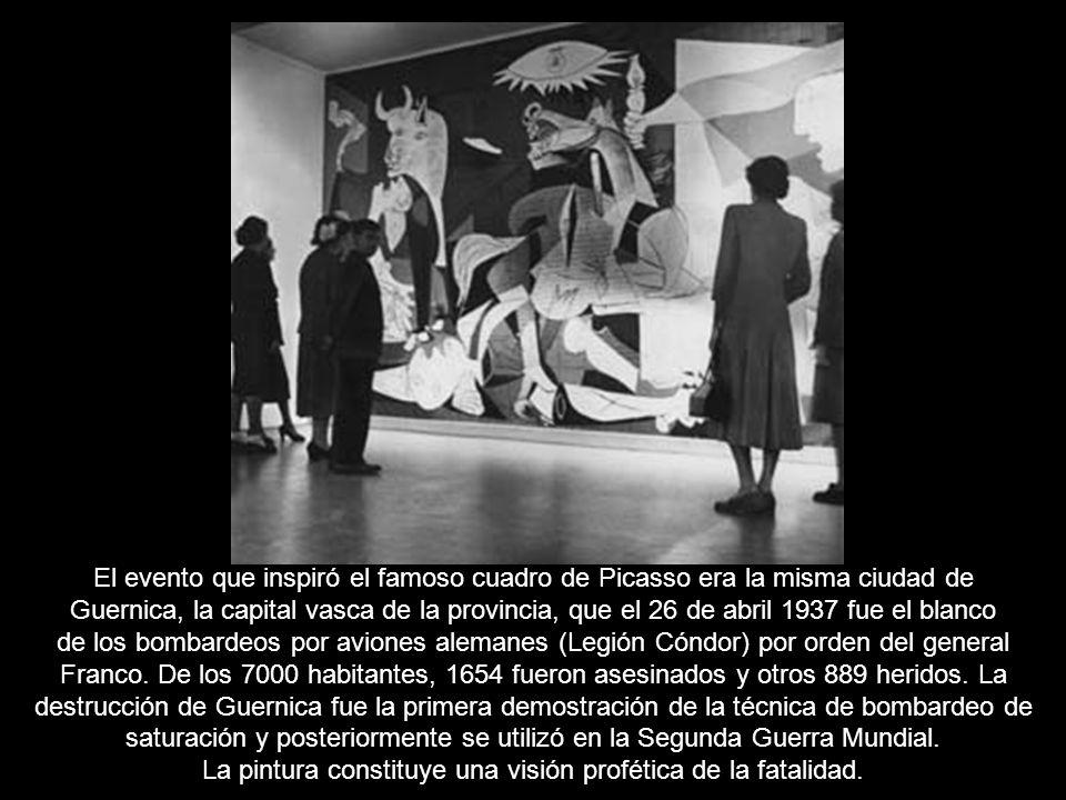 El evento que inspiró el famoso cuadro de Picasso era la misma ciudad de Guernica, la capital vasca de la provincia, que el 26 de abril 1937 fue el blanco de los bombardeos por aviones alemanes (Legión Cóndor) por orden del general Franco.
