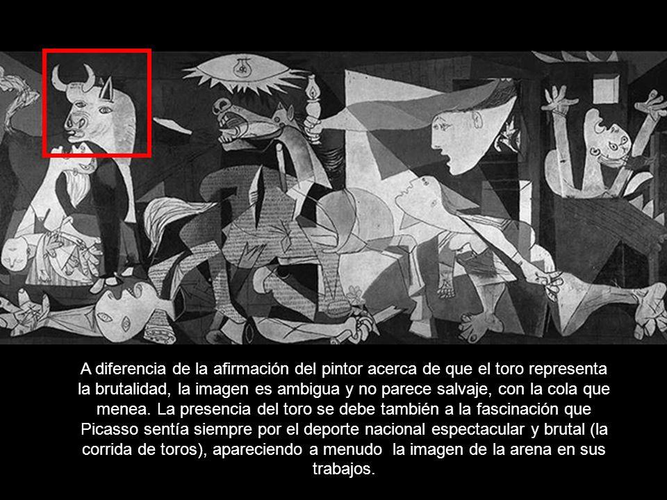 A diferencia de la afirmación del pintor acerca de que el toro representa la brutalidad, la imagen es ambigua y no parece salvaje, con la cola que menea.