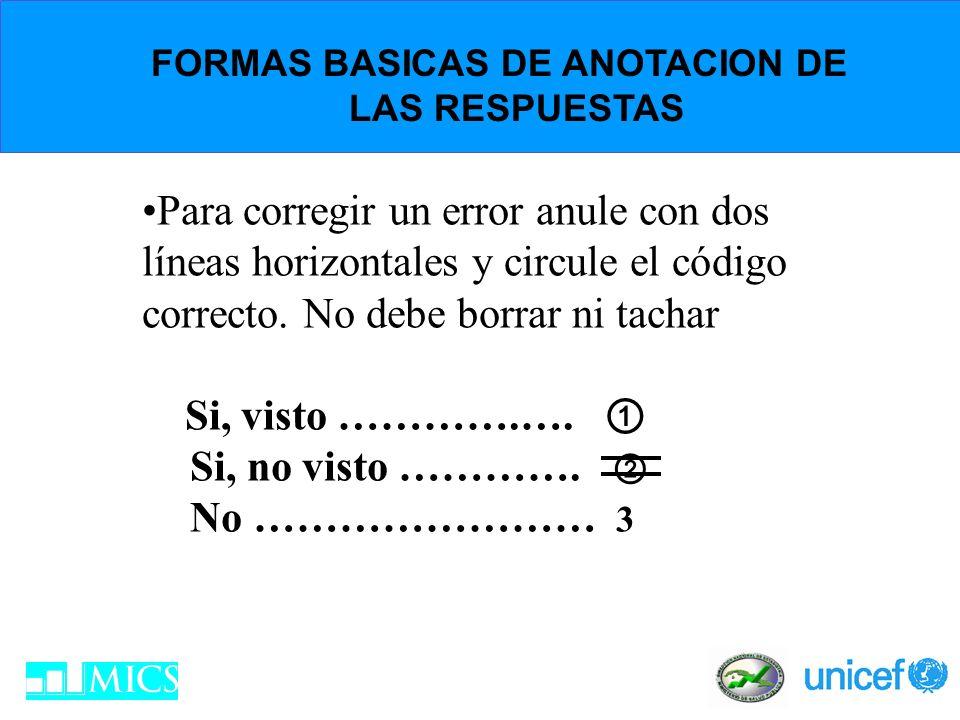 FORMAS BASICAS DE ANOTACION DE LAS RESPUESTAS Para corregir un error anule con dos líneas horizontales y circule el código correcto. No debe borrar ni