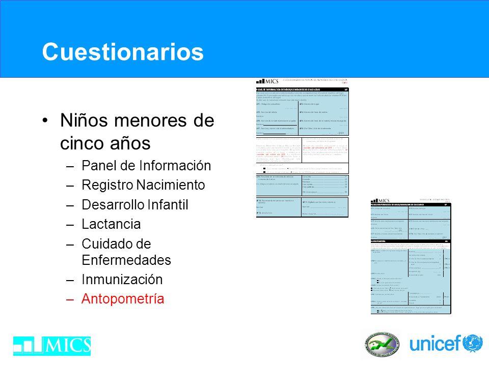 Cuestionarios Niños menores de cinco años –Panel de Información –Registro Nacimiento –Desarrollo Infantil –Lactancia –Cuidado de Enfermedades –Inmuniz