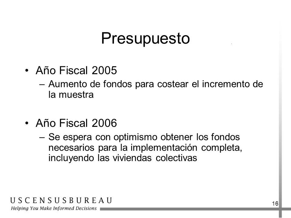 16 Presupuesto Año Fiscal 2005 –Aumento de fondos para costear el incremento de la muestra Año Fiscal 2006 –Se espera con optimismo obtener los fondos necesarios para la implementación completa, incluyendo las viviendas colectivas