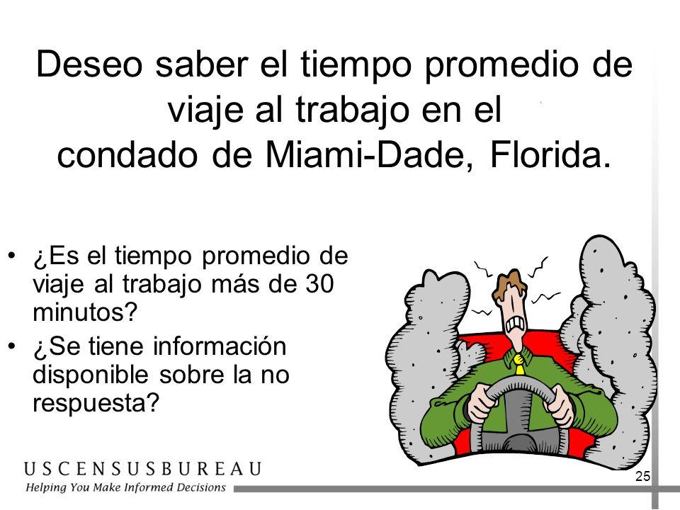 25 Deseo saber el tiempo promedio de viaje al trabajo en el condado de Miami-Dade, Florida. ¿Es el tiempo promedio de viaje al trabajo más de 30 minut