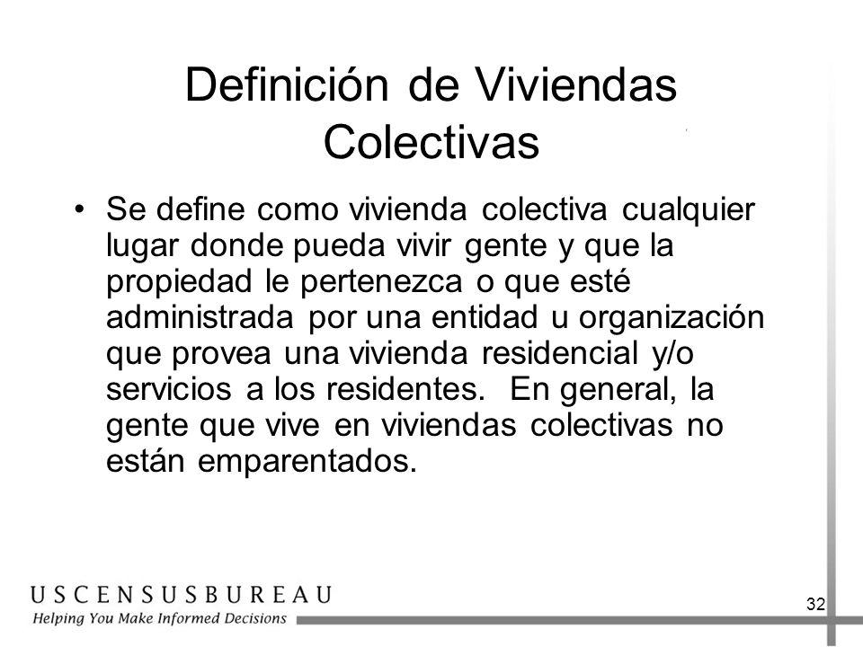32 Definición de Viviendas Colectivas Se define como vivienda colectiva cualquier lugar donde pueda vivir gente y que la propiedad le pertenezca o que
