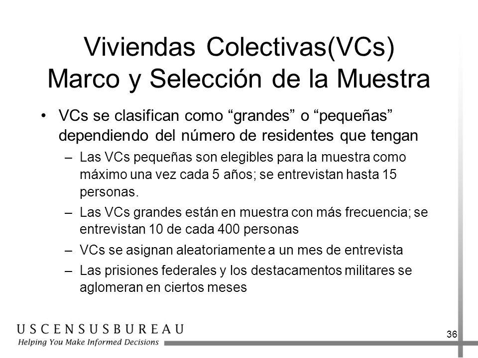 36 Viviendas Colectivas(VCs) Marco y Selección de la Muestra VCs se clasifican como grandes o pequeñas dependiendo del número de residentes que tengan –Las VCs pequeñas son elegibles para la muestra como máximo una vez cada 5 años; se entrevistan hasta 15 personas.