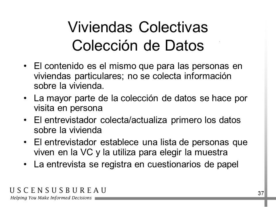 37 Viviendas Colectivas Colección de Datos El contenido es el mismo que para las personas en viviendas particulares; no se colecta información sobre l