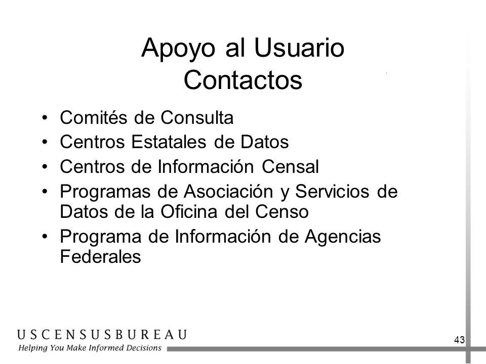 43 Apoyo al Usuario Contactos Comités de Consulta Centros Estatales de Datos Centros de Información Censal Programas de Asociación y Servicios de Datos de la Oficina del Censo Programa de Información de Agencias Federales