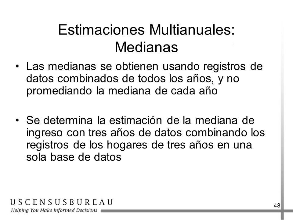 48 Estimaciones Multianuales: Medianas Las medianas se obtienen usando registros de datos combinados de todos los años, y no promediando la mediana de