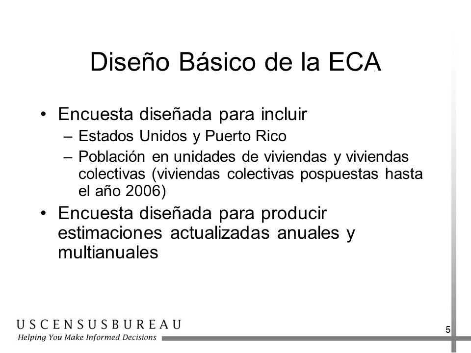 5 Diseño Básico de la ECA Encuesta diseñada para incluir –Estados Unidos y Puerto Rico –Población en unidades de viviendas y viviendas colectivas (viviendas colectivas pospuestas hasta el año 2006) Encuesta diseñada para producir estimaciones actualizadas anuales y multianuales