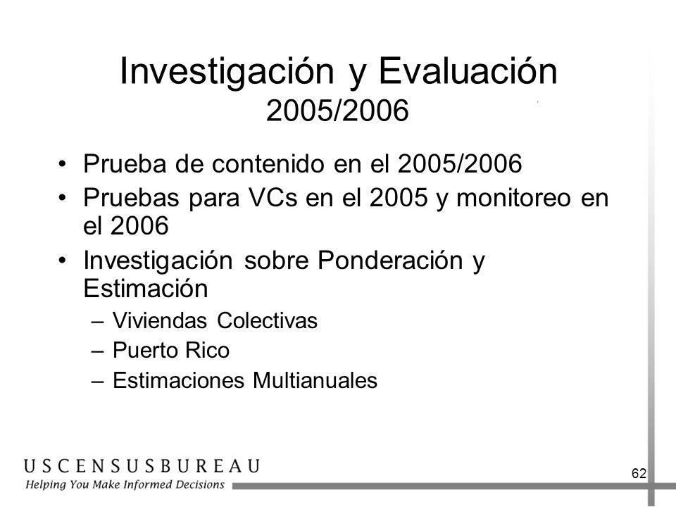 62 Investigación y Evaluación 2005/2006 Prueba de contenido en el 2005/2006 Pruebas para VCs en el 2005 y monitoreo en el 2006 Investigación sobre Ponderación y Estimación –Viviendas Colectivas –Puerto Rico –Estimaciones Multianuales