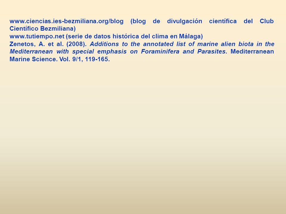 www.ciencias.ies-bezmiliana.org/blog (blog de divulgación científica del Club Científico Bezmiliana) www.tutiempo.net (serie de datos histórica del cl