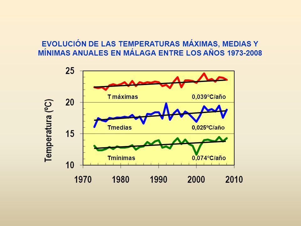 T máximas Tmedias Tmínimas EVOLUCIÓN DE LAS TEMPERATURAS MÁXIMAS, MEDIAS Y MÍNIMAS ANUALES EN MÁLAGA ENTRE LOS AÑOS 1973-2008 0,039ºC/año 0,074ºC/año