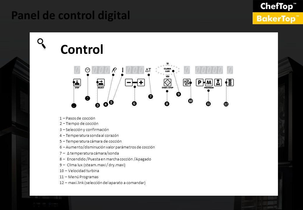 Panel de control digital Control 1 – Pasos de cocción 2 – Tiempo de cocción 3 – Selección y confirmación 4 – Temperatura sonda al corazón 5 – Temperat