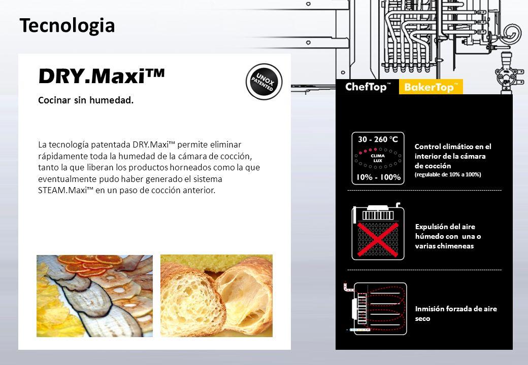 Tecnologia Producción del vapor desde 48 °C STEAM.Maxi es la solución patentada de Unox para obtener una perfecta cocción al vapor.